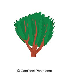 Tree with green leaves icon, cartoon style