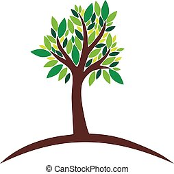 Tree with green leaves on white background, vector illustration