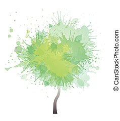 Tree with green watercolor splashes. Creative illustration. Vector element for your design