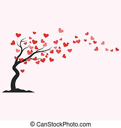 Tree with heart leaves