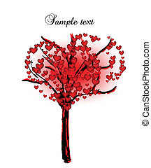 Tree with hearts for valentine day. Vector