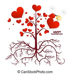 Tree with Hearts Isolated on White Background. Vector Valentines Day Card.