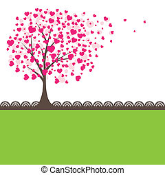 Tree with hearts. Vector illustration