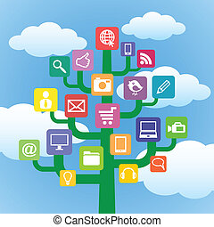 Tree with icons gadgets and computer symbols. Internet concept.