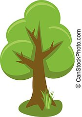 Tree With Icons, Isolated On White Background, Vector Illustration