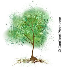 tree with leaves painted with green paint - stylized tree...