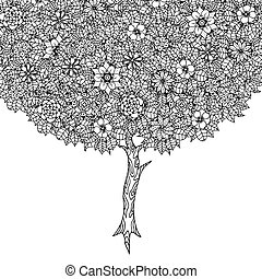 Tree with leaves and flowers. Vector. Coloring book page for...
