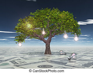 Tree with light bulbs grows out of US currency surface