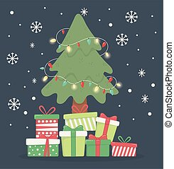 tree with lights many gift boxes celebration merry christmas poster