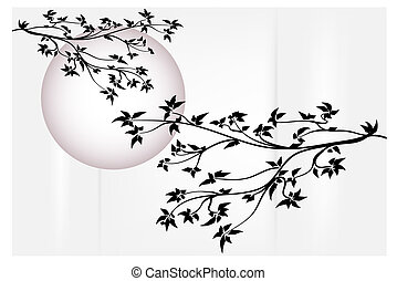 Tree with moon - Silhouette tree with purple moon - Japanese...