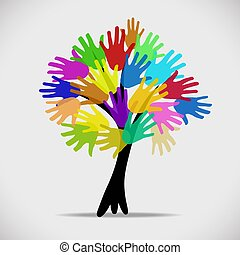 Tree with multicolor hands, stock vector logo illustration
