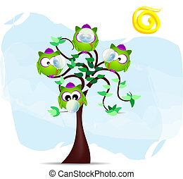 tree with owls - Illustration with owl detective in the ...