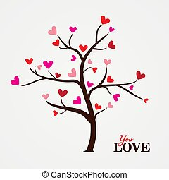 Tree with paper leaves and hanging hearts. Love tree with heart leaves