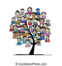 Tree with people icons for your design