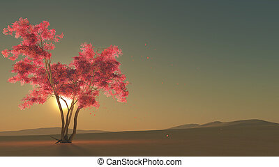 Tree with pink blossoms - 3D computer graphics of a tree ...