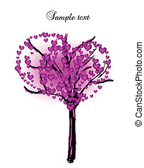 Tree with pink hearts. Vector