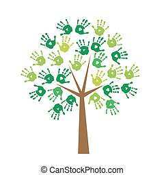 Tree with prints of hands instead o