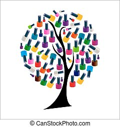 Tree with Realistic Nail Polish Vector Illustration EPS10