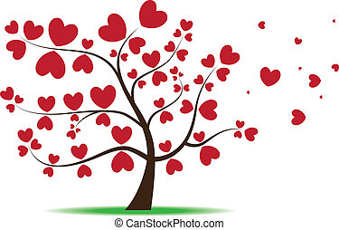 Tree with red heart leaves,love - Vector image for various...