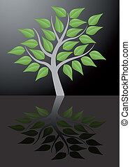 tree with reflection - illustration of tree with reflection