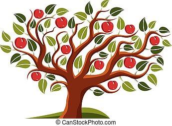 Tree with ripe apples, harvest season theme illustration. Fruitfulness and fertility idea symbolic image.
