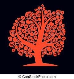 Tree with ripe apples, harvest season theme illustration. ...