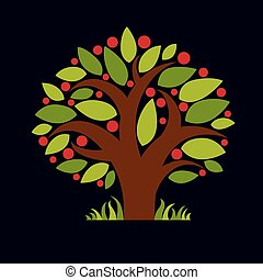 Tree with ripe apples, harvest season theme illustration. Fruitfulness and fertility idea symbolic image.