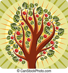 Tree with ripe apples placed on stylized background, harvest...