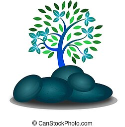tree with rock White background