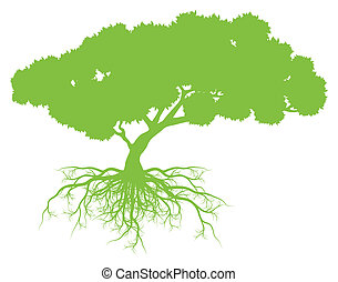 Tree with roots background ecology vector concept card for ...