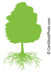 Tree with roots background ecology vector concept for poster