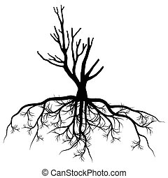 Tree with roots background vector