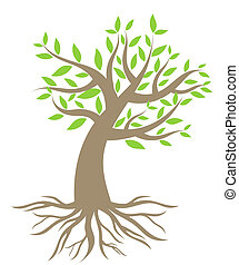 Tree with roots. Vector illustration
