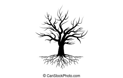 tree with roots in black design