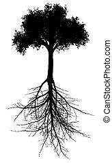 Tree with roots silhouette