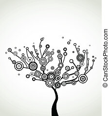 Tree with round leaves. Vector background