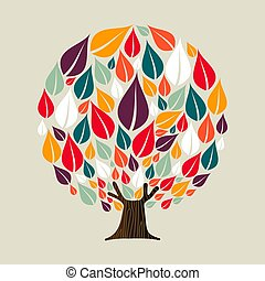 Tree with seasonal leaves for ecology concept