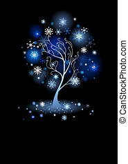tree with snowflakes - artistically painted , winter tree...
