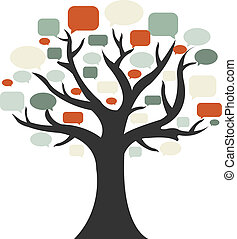 Tree With Speech Bubble, Isolated On White Background, ...