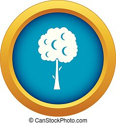 Tree with spherical crown icon blue vector isolated