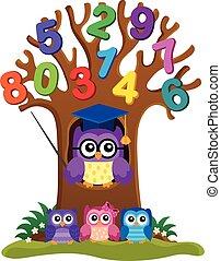 Tree with stylized school owl