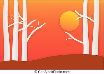 Tree with sunset twilight time paper art style for your design vector illustration