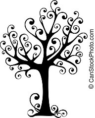 ornamental tree with swirly branches, vector