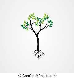 Tree with the roots, green spring tree vector illustration.