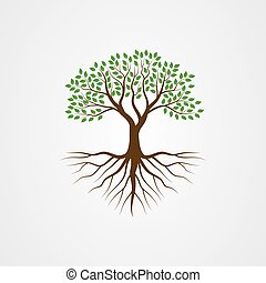 Tree with the roots vector illustration