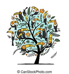 Tree with toucans, paradise tropical birds for your design