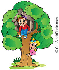 Tree with two cartoon kids - vector illustration.