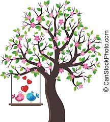Tree with Valentine birds theme 1