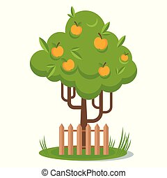 Tree with yellow Apple picking. Flat vector cartoon illustration.
