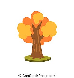 Tree with yellow leaves vector Illustration on a white background